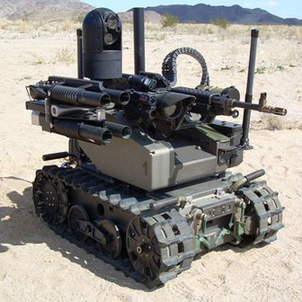 tracked robot with machine gun