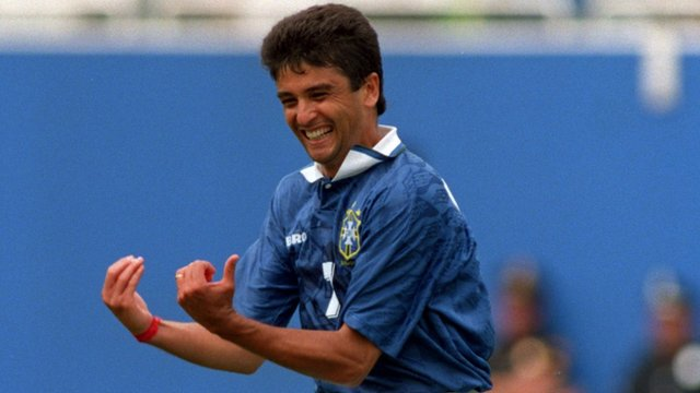 Brazil's Bebeto celebrates scoring against the Netherlands at the 1994 World Cup