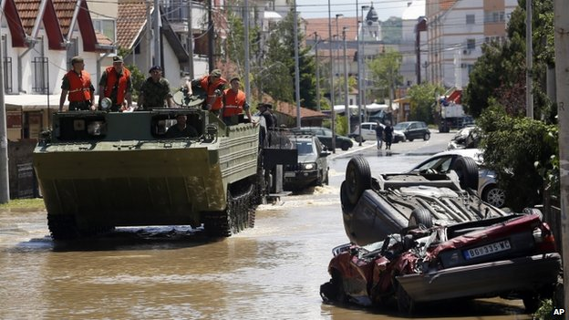 Military amphibious vehicle in Obrenovac, south-west of Belgrade, Serbia. 19 May 2014