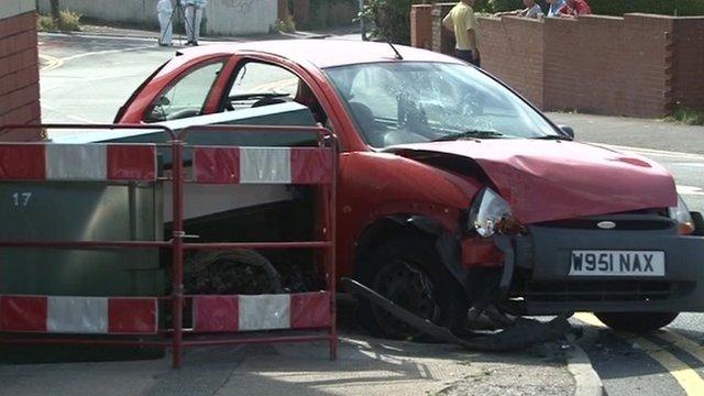 A damaged car