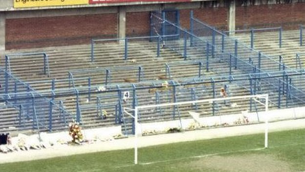 The terrace at the Leppings Lane end