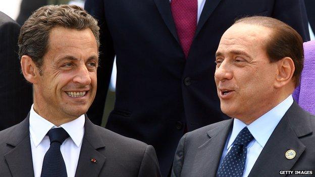 Nicolas Sarkozy and Silvio Berlusconi during G8 summit in L'Aquila, 2009