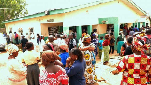 Relatives of victims gather at the mortuary in Jos. 21 May 2014