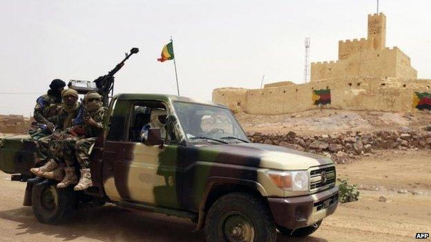 Malian soldiers in Kidal, file pic