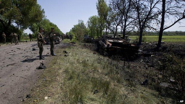Attack aftermath near Volnovakha, Ukraine, 22 May