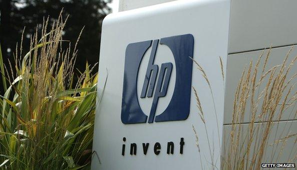 HP logo on building