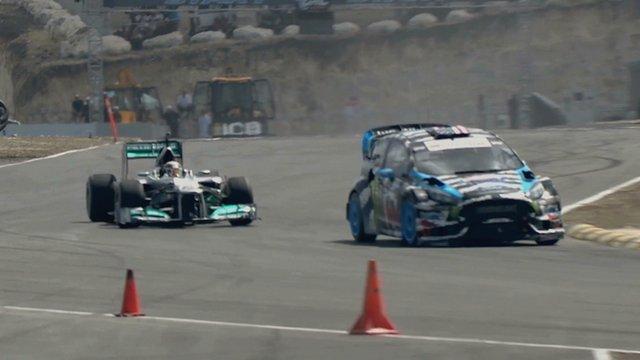 Lewis Hamilton takes on Ken Block