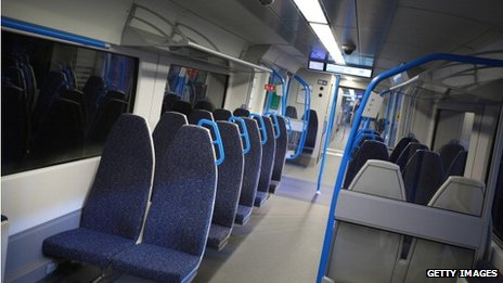 The inside of a new Thameslink train carriage due to be rolled out before 2018