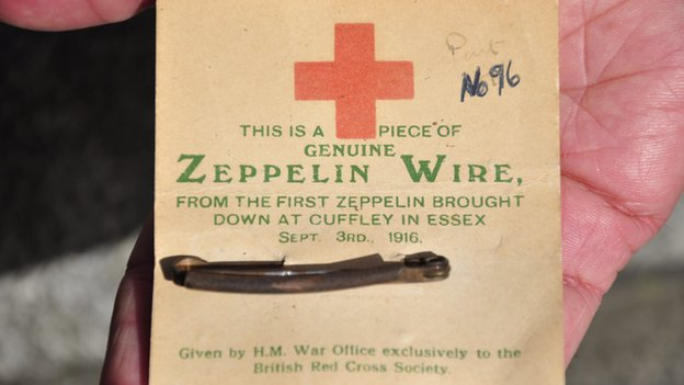 Wire from the first Zeppelin shot down