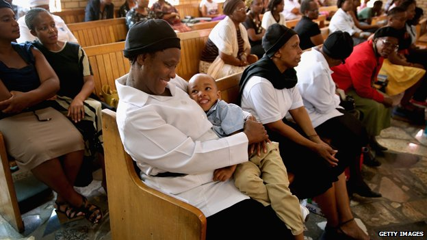 Church worshippers in South Africa