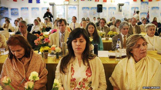 Transcendental Meditation devotees at a centre in Holland