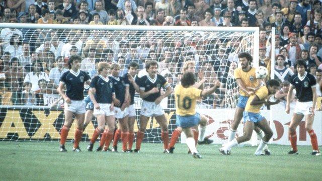 Zico scores a stunning free-kick against Scotland