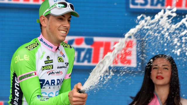 Marco Canola celebrates his surprise Giro stage win on Friday