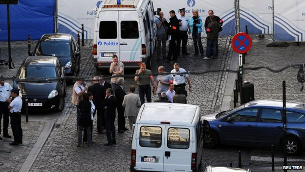 Police at the scene of the Brussels attack