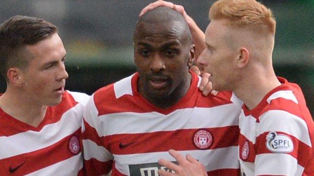 Interview - Hamilton Academical striker Jason Scotland (centre)