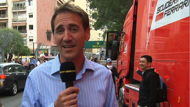 BBC F1 pit-lane reporter Tom Clarkson