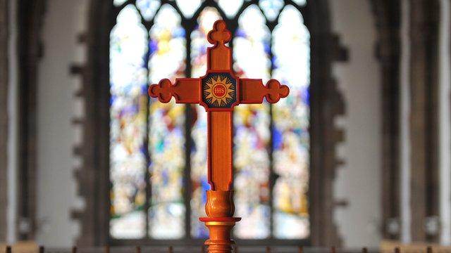 A cross in a church