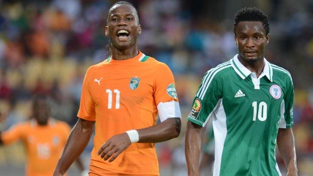 Ivory Coast's Didier Drogba against Nigeria's John Obi Mikel