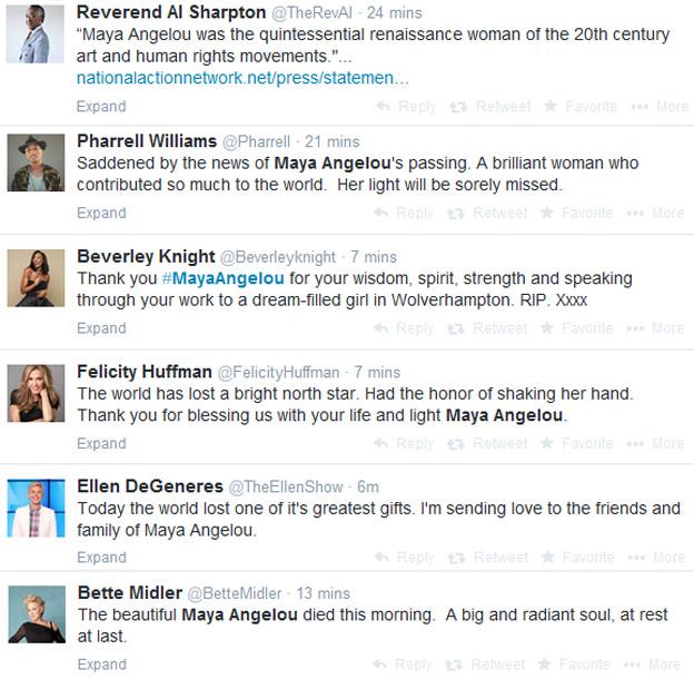 Maya Angelou Twitter tributes