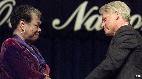 Maya Angelou and US President Bill Clinton in 2000