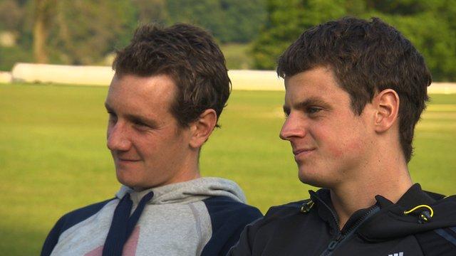 British triathletes Alistair and Jonathan Brownlee