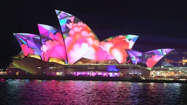 "Sydney Opera House during the city's annual ""Vivid Sydney"" festival"