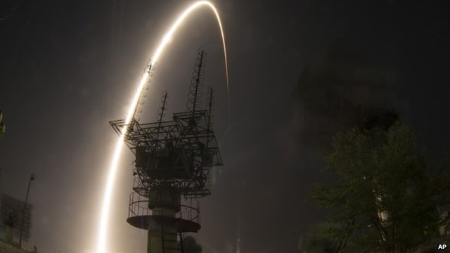 Soyuz rocket launches from Kazakhstan