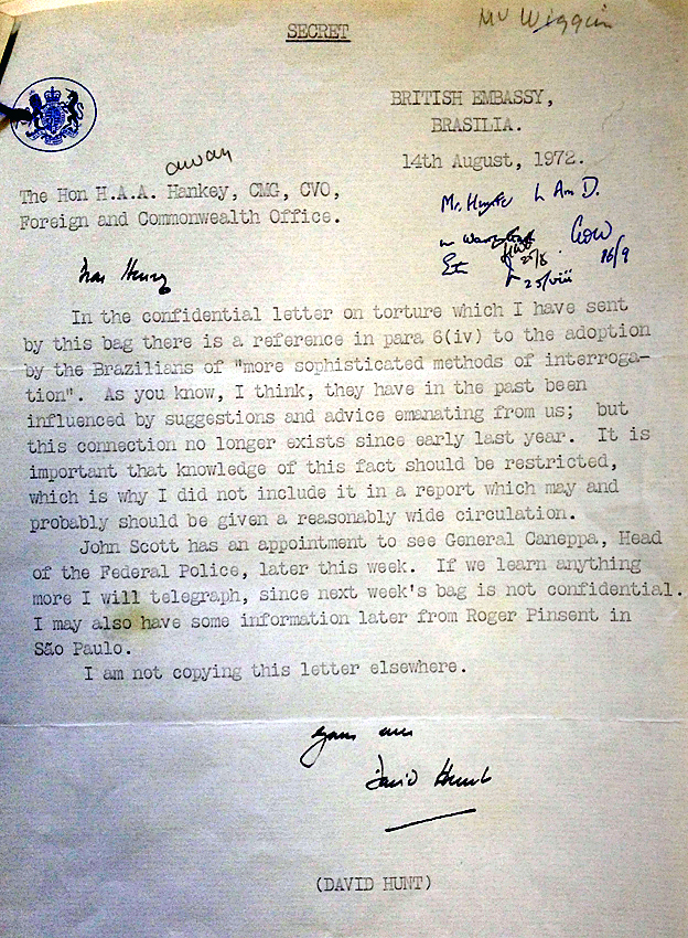 Letter from the National Archives, dated 1972, signed David Hunt