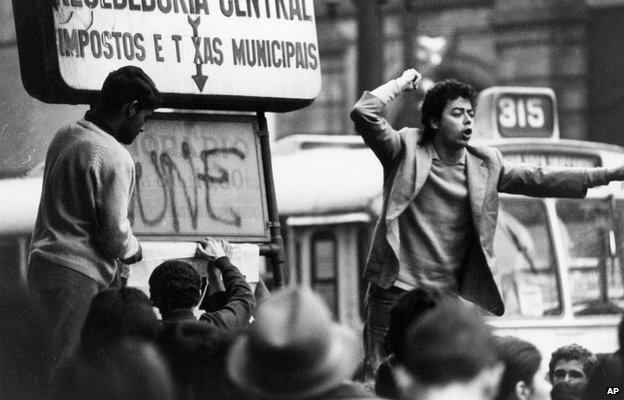 A protest in Sao Paulo in the early 1970s