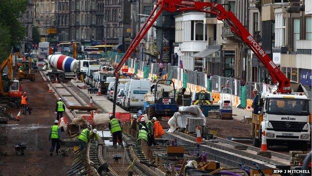 Workmen continue works on the Edinburgh tram project on Princes Street on September 30, 2009 in Edinburgh, Scotland
