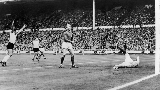 Helmut Haller scores to give Germany a 1-0 lead in to the 1966 World Cup final at Wembley.