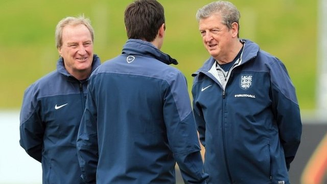 Roy Hodgson and his assistants Ray Lewington and Gary Neville put the England team through their paces