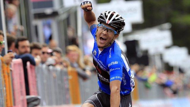 Julian Arredondo celebrates his Giro d'Italia stage win on Thursday