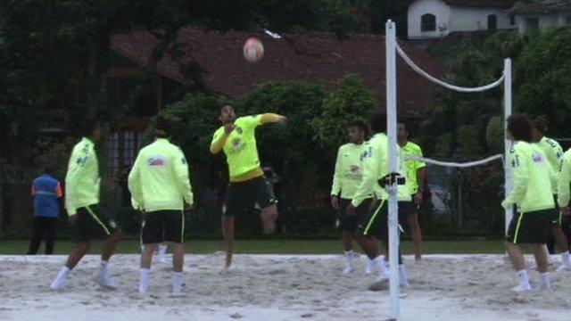 Brazil stars show off their footvolley skills