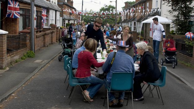 Street party celebrating Royal Wedding of Kate Middleton and Prince William