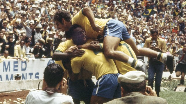 Brazil celebrate their fourth goal against Italy in the 1970 World Cup final