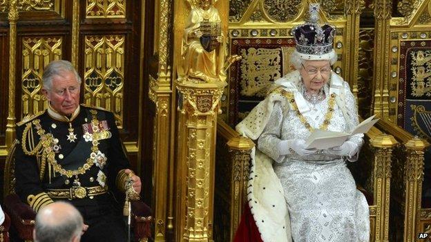 The Queen delivering her speech in 2013