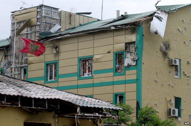 The border guard base in Luhansk, 3 June