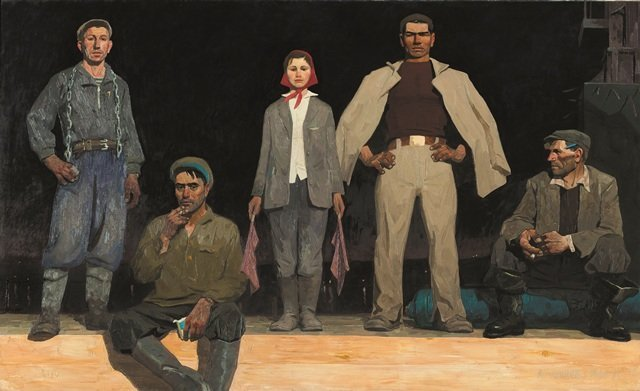 "Viktor Popkov's painting ""Builders of Bratsk"" at an exhibition in London."
