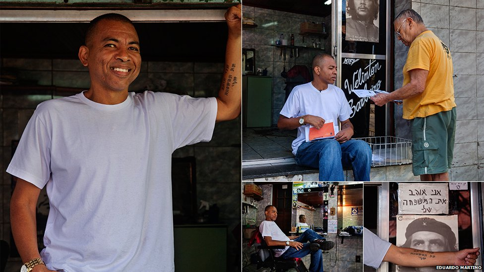 Wellington Pereira at his barber shop in Rocinha. He also serves as an alternative post office