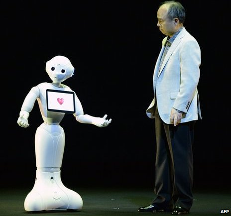 Masayoshi Son with Pepper robot