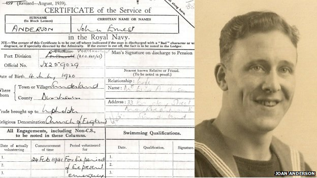 Service record and photo of John Ernest Anderson
