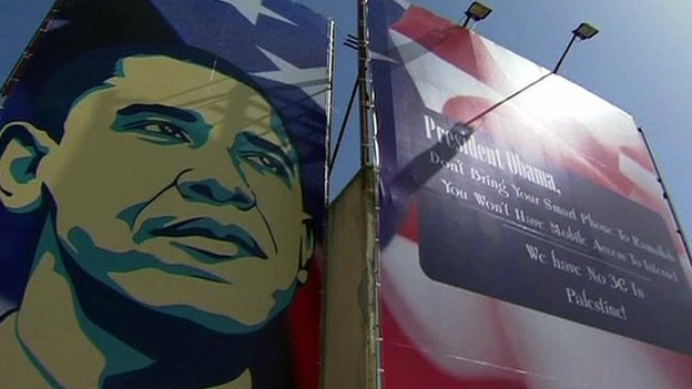 A poster featuring a picture of US President Barack Obama warns about about the lack of 3G coverage