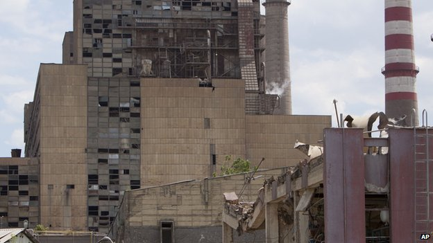A view of damage caused by an explosion that rocked Kosovo's main power plant, in Obilic, Kosovo, on 6 June 2014