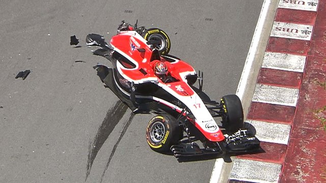 Marussia's Jules Bianchi crashes on the first lap of the Canadian Grand Prix