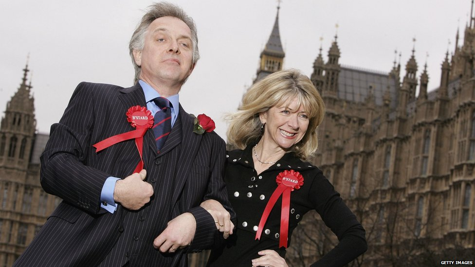 Rik Mayall and Marsha Fitzalan pose as their comic 1980s TV characters Alan and Sarah B'Stard launching the UK tour of the stage adaptation of The New Statesman in 2006