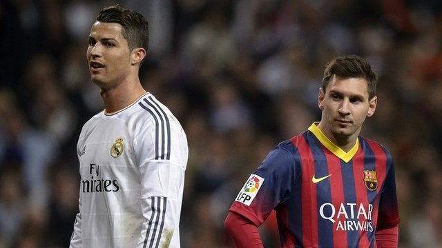 Cristiano Ronaldo of Real Madrid and Portugal and Lionel Messi of Barcelona and Argentina