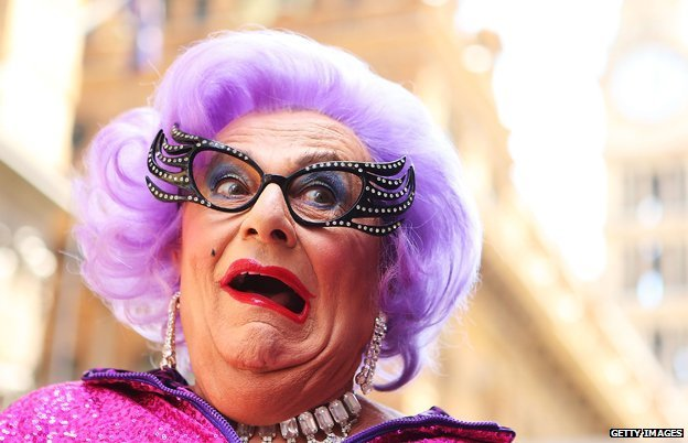 Barry Humphries dressed as Dame Edna Everage