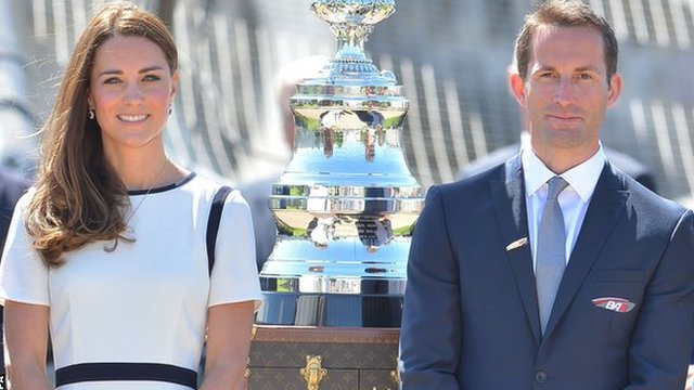 Catherine, Duchess of Cambridge (left) and Olympic gold medallist Sir Ben Ainslie