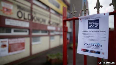 An anti-Michael Gove poster on the gates of Oldknow Academy